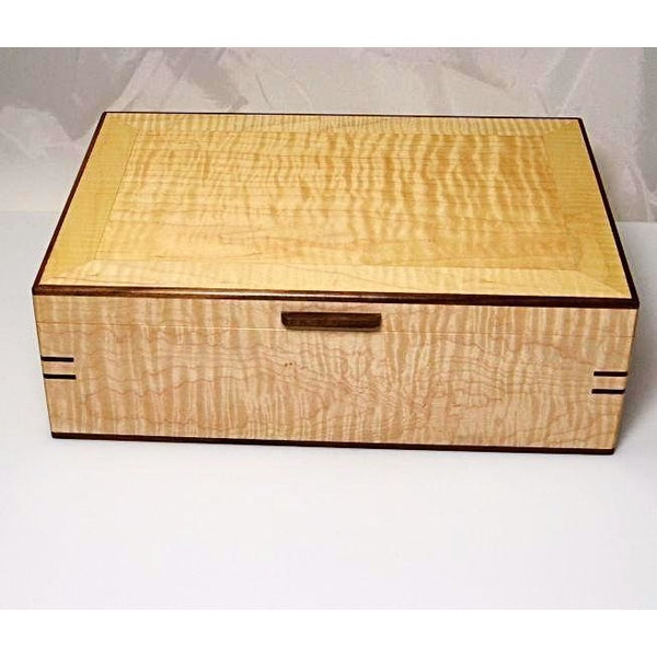EASTERN MAPLE AND WALNUT LARGE JEWELRY BOX