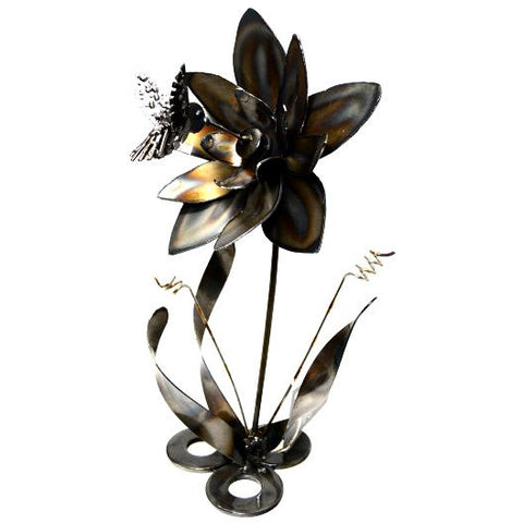 STEEL HUMMINGBIRD AND FLOWER - Side Street Studio - 1
