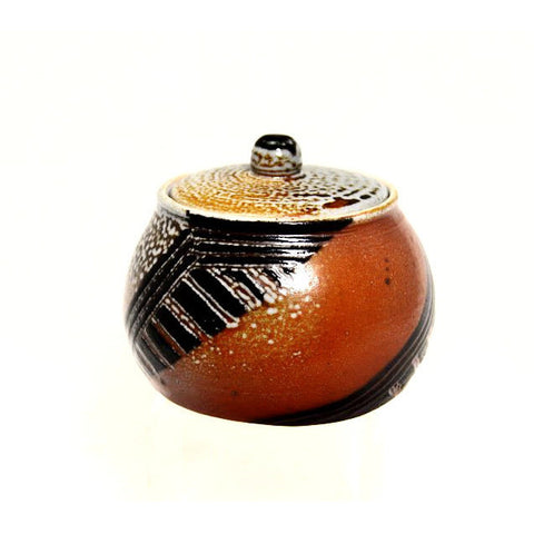 SALT FIRED CARVED LIDDED JAR - Side Street Studio