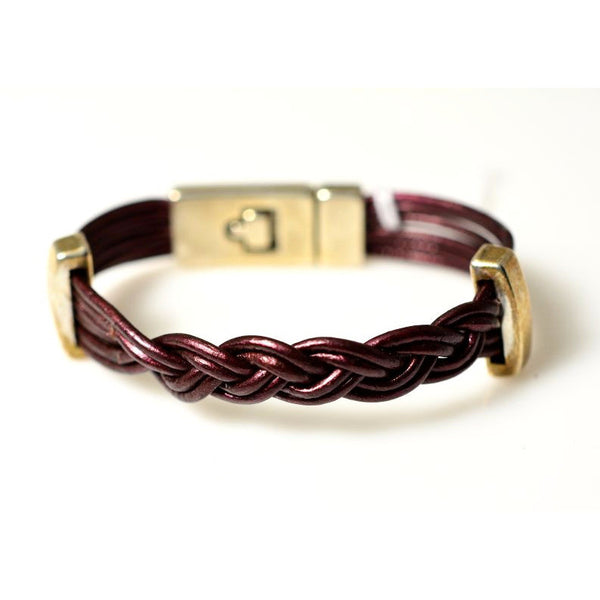 SINGLE MULTI-STRAND LEATHER PLAITED BRACELET - Side Street Studio