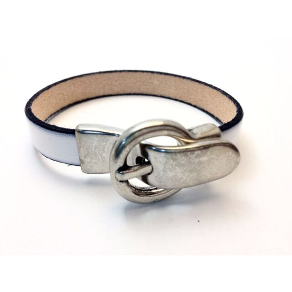 SINGLE LEATHER WRIST WRAP WITH BUCKLE CLASP- L