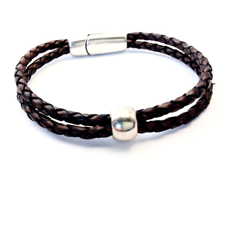 SINGLE BRAIDED LEATHER WRIST WRAP WITH SILVER BEADS - M - Side Street Studio