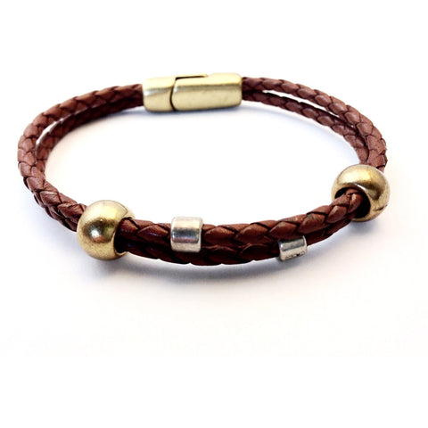 SINGLE BRAIDED LEATHER WRIST WRAP WITH SILVER BEADS M/L - Side Street Studio
