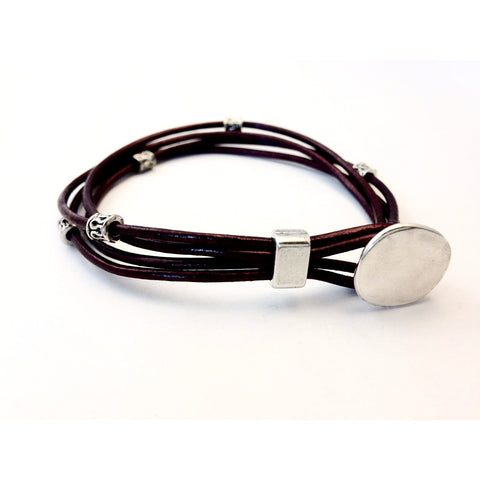 MULTI STRAND LEATHER BRACELET - M/L - Side Street Studio