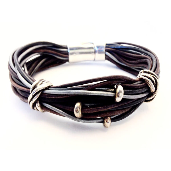 MULTI STRAND LEATHER BRACELET - Side Street Studio
