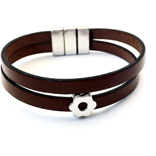 DOUBLE WRAP DUAL STRAND LEATHER BRACELET