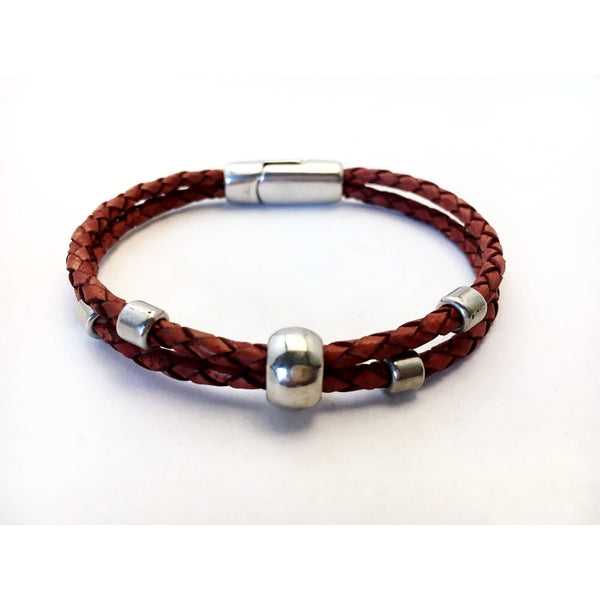 BRAIDED LEATHER WRIST WRAP WITH SILVER BEADS