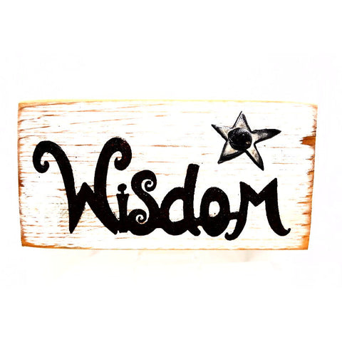 STEEL AND WOOD WORD PLAQUE - WISDOM - Side Street Studio