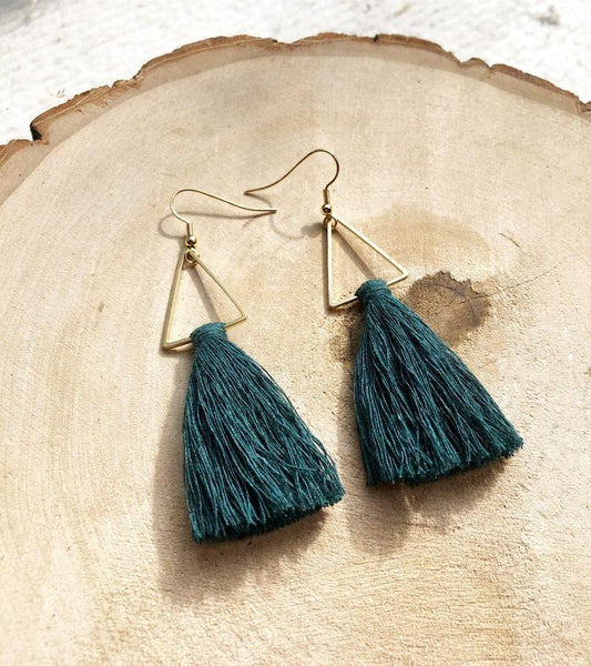 Meraki Macrame Tassel Earrings Forest Green - Side Street Studio
