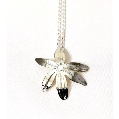 Sterling Silver Camas Flower Pendant Necklace - Side Street Studio