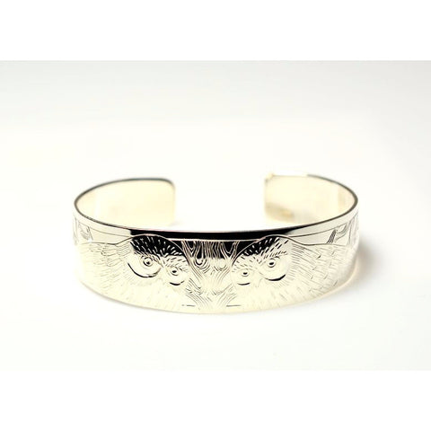 STERLING SILVER CUFF BRACELET WITH SAW WHET OWL DESIGN - Side Street Studio