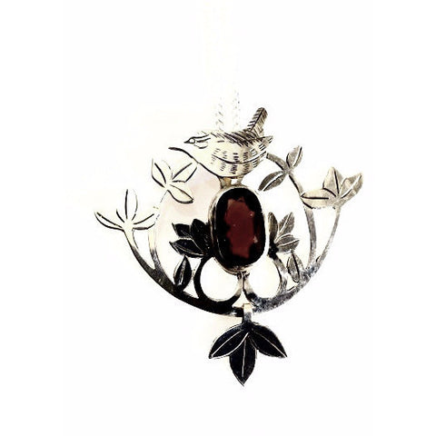 STERLING SILVER WREN WITH GARNET NECKLACE - Side Street Studio