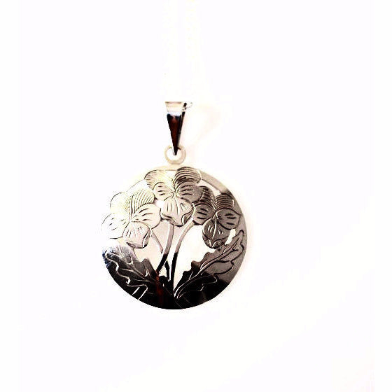 Sterling Silver Johnny Jump Up Pendant Necklace - Side Street Studio