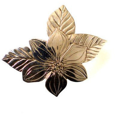 SILVER DOGWOOD BROOCH - Side Street Studio
