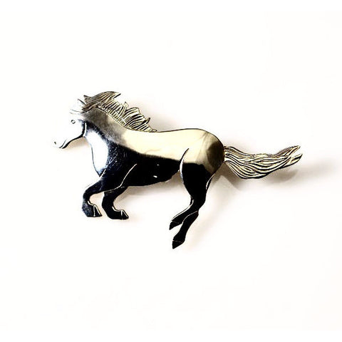 STERLING SILVER HORSE BROOCH - Side Street Studio