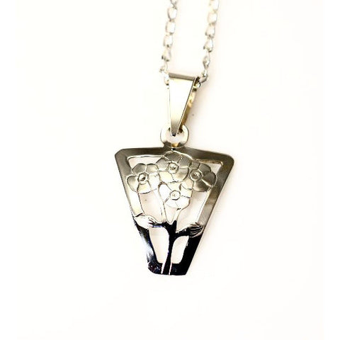 Sterling Silver Forget Me Not Pendant Necklace - Side Street Studio