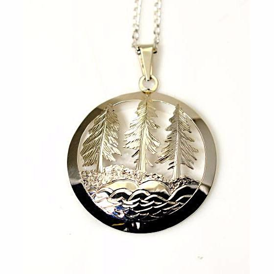 Sterling Silver Evergreen Trees and Sea Pendant Necklace - Side Street Studio