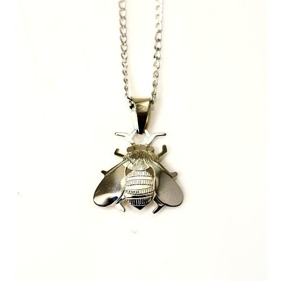 Sterling Silver Bee Pendant Necklace - Side Street Studio