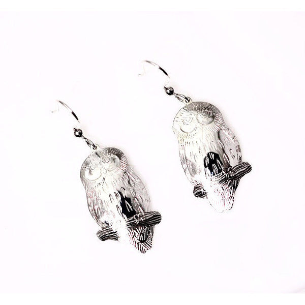SAW WHET OWL SILVER EARRINGS - Side Street Studio