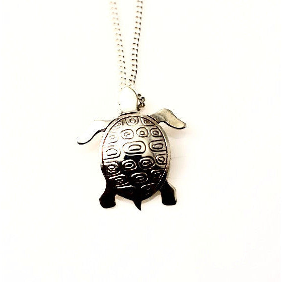 SEA TURTLE SILVER PENDANT - Side Street Studio