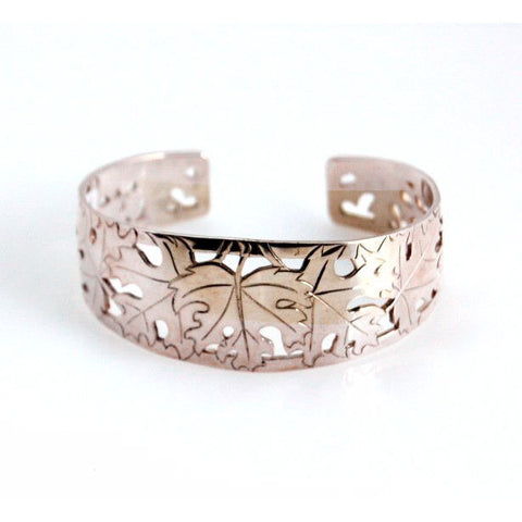SILVER MAPLE LEAVES CUFF BRACELET - Side Street Studio