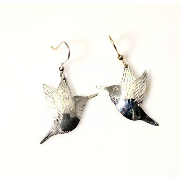 SILVER HUMMINGBIRD EARRINGS - Side Street Studio