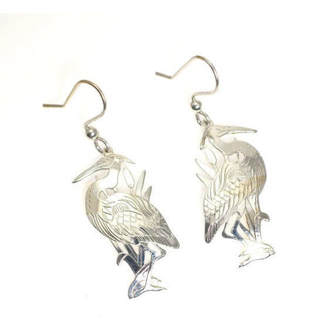 Sterling Silver Heron Earrings - Side Street Studio