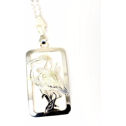 Sterling Silver Heron Pendant Necklace - Side Street Studio