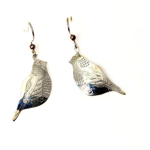 Sterling Silver Quail Earrings  - Side Street Studio