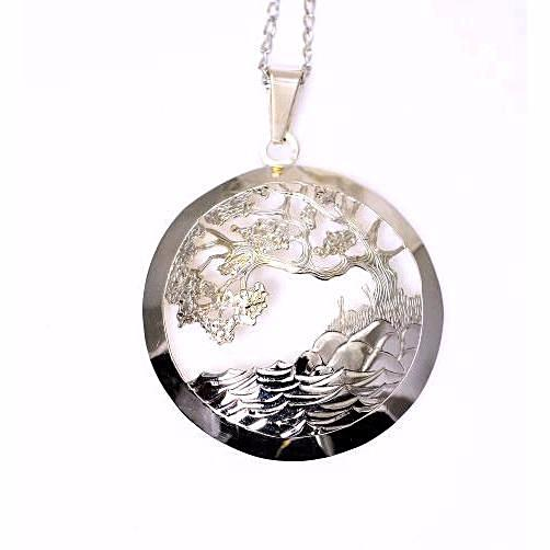 STERLING SILVER ARBUTUS TREE IN CIRCLE PENDANT - Side Street Studio