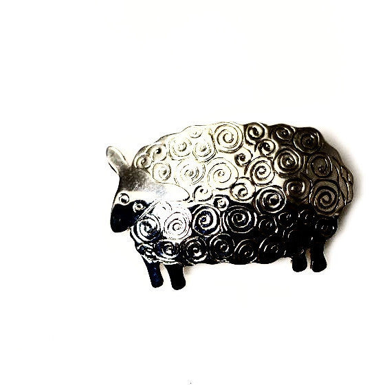 SILVER SHEEP BROOCH - Side Street Studio
