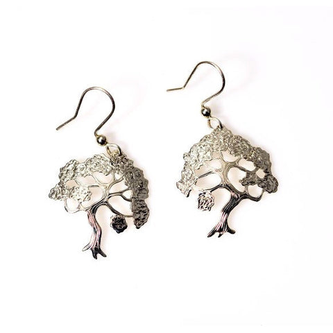 STERLING SILVER ARBUTUS TREE EARRINGS - Side Street Studio