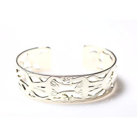 STERLING SILVER CUFF BRACELET WITH FROG & WATERLILY DESIGN - Side Street Studio