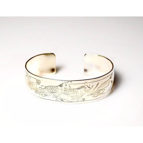 Sterling Silver Cuff Bracelet with Quail Design