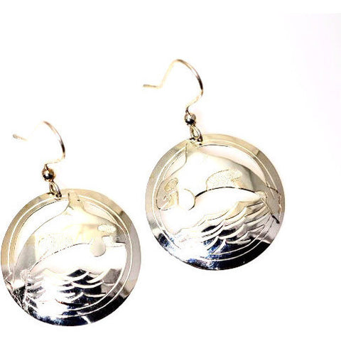 STERLING SILVER ORCA IN CIRCLE EARRINGS - Side Street Studio