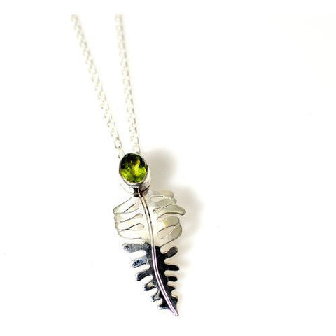 Sterling Silver Fern and Peridot Pendant Necklace - Side Street Studio