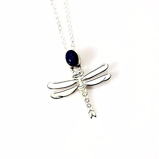 SILVER AND LAPIS DRAGONFLY PENDANT