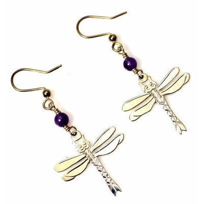 STERLING SILVER AND AMETHYST DRAGONFLY EARRINGS - Side Street Studio