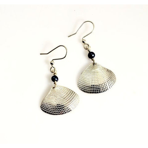 Sterling Silver Clam Shell Earring with Black Pearl - Side Street Studio