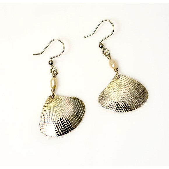 Sterling Silver Clam Shell Earring with White Pearl - Side Street Studio