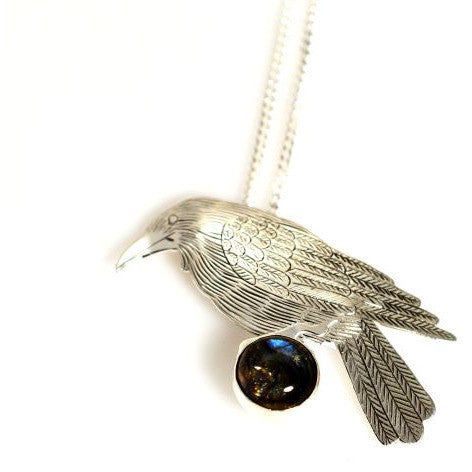Sterling Silver Raven with Sapphire Pendant Necklace - Side Street Studio