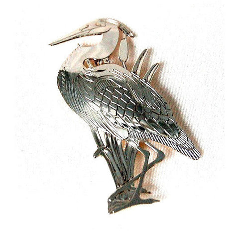SILVER BLUE HERON BROOCH - Side Street Studio