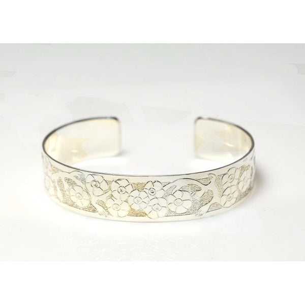 SILVER CUFF BRACELET WITH FORGET ME NOT DESIGN - Side Street Studio