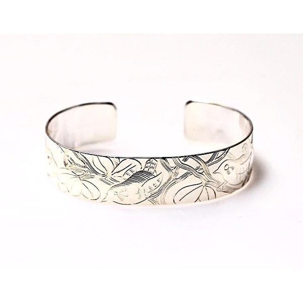 SILVER CUFF BRACELET WITH WREN DESIGN - Side Street Studio