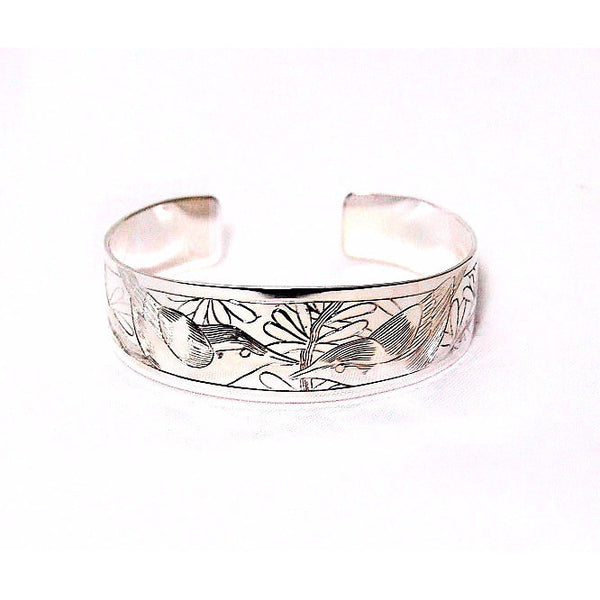 SILVER CUFF BRACELET WITH NUTHATCH DESIGN - Side Street Studio