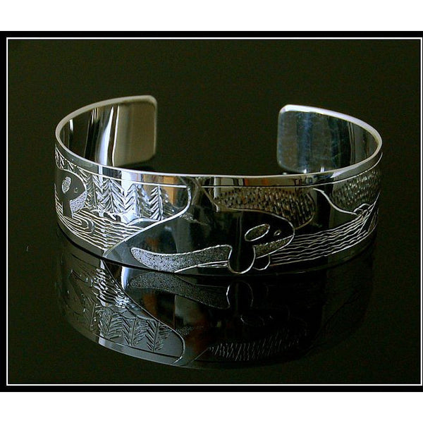 SILVER CUFF BRACELET WITH ORCA DESIGN - Side Street Studio
