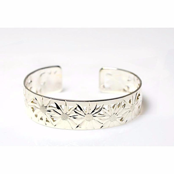 Sterling silver Cuff Bracelet with Aster Design - Side Street Studio
