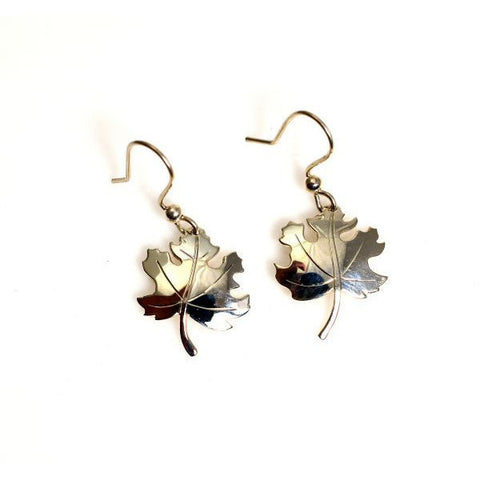MAPLE LEAF SILVER EARRINGS - Side Street Studio