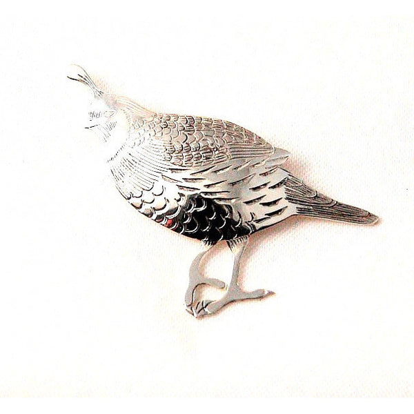 LARGE QUAIL STERLING SILVER BROOCH - Side Street Studio