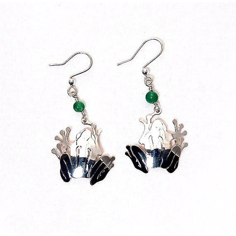FROG DESIGN SILVER EARRINGS WITH AVENTURINE BEADS - Side Street Studio